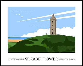 Scrabo Tower - vintage style railway travel poster art of Ireland