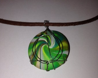 Round Green Polymer Clay Wire Wrapped Pendant