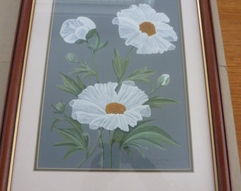 FRAMED WATER COLOUR tree poppies