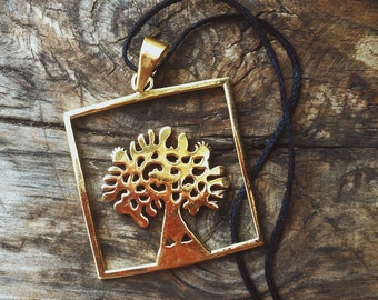 Brass tree of life pendant