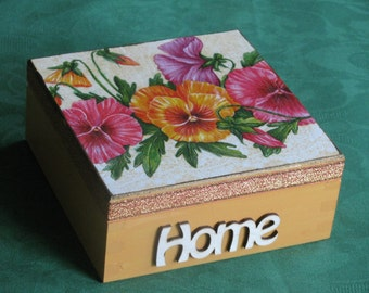 decoupage wooden box - HOME