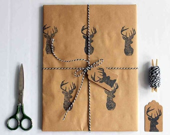 Christmas wrapping paper | Hand printed gift wrap set | 1 sheet of paper 70x100cm/27.5x39.5'' | 2 gift tags | 5m/5yd twine | Black deer