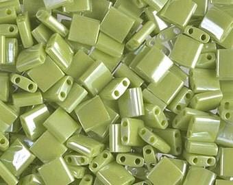 Tila Bead- Op Chartreuse Luster  #439  Miyuki Tila Beads - 10 grams