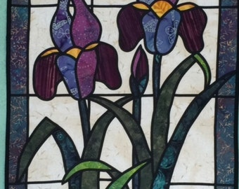 Stained Glass Iris Quilt
