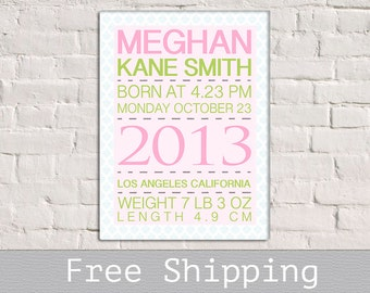 New Born Baby - Baby Announcement Wall Art - Baby Birth Announcement Canvas - Baby Birth Stats - Baby Shower Gift - Nursery Decor