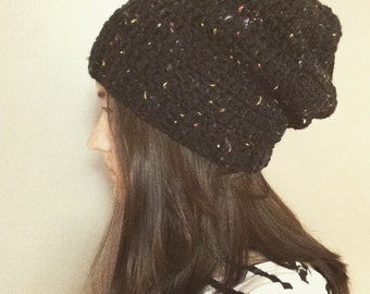 Crochet Slouchy Beanie with Ribbed Edge