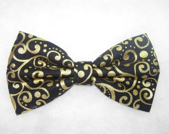 Gold and Black Bow Tie | Metallic Gold | Dots & Curls | Pre-tied Bow Tie | Mens Bow tie | Boys Bow tie | Wedding Bow tie | Gold Bow tie