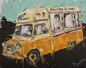Ice Cream van Painting ... Gallones Ice Cream (red stripe)