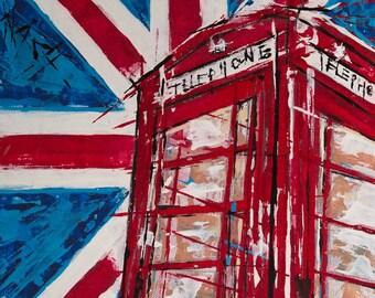 Red phone box painting ... Union Jack