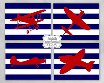 Printable Antique Vintage Planes Airplanes Bi-planes Navy Red Nursery Wall Art Decor Baby Child Kids ~ DIY Instant Download ~ 4 8x10 Prints