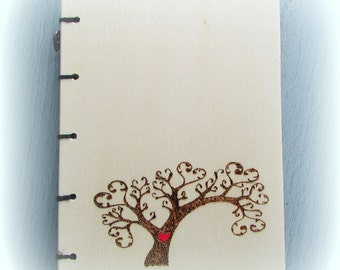 Wooden tree hearts book