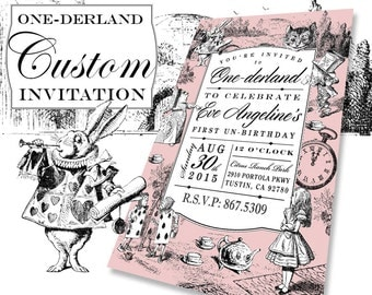 Alice In Wonderland Theme Custom Birthday Party Invitation