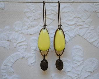 Clear yellow enamel earrings