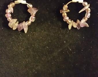 Purple chipped earrings