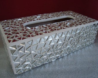 Mirror mosaic tissue box