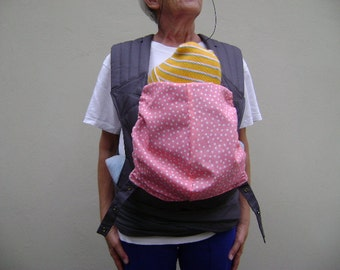 Charcoal Cotton Twill/Coral cotton print Baby Carrier