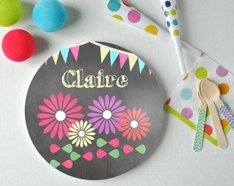 Bloomin - Personalized Kids Plate - Floral Plate - Custom Plate - Christmas Gift - Child Plate - Chalkboard Plate