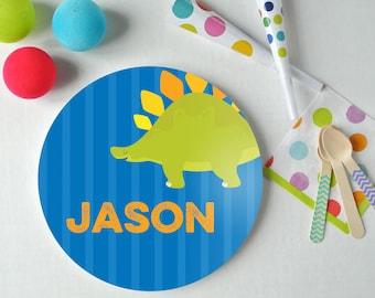 Dino Time - Personalized Kids Plate - Dinosaur Plate - Custom Plate - Christmas Gift - Child Plate - Stegosaurus Plate