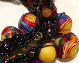 Artist made boho rainbow swirl polymer clay bead crocheted wrap bracelet
