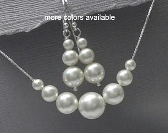 Maid of Honor Gift, Personalized Bridesmaid Gift, Swarovski White Pearl Bridesmaid Gift, Bridal Jewelry Set, Wedding Jewelry Set