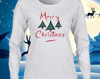 Merry Christmas T Shirt Women's Long Sleeve Christmas T-Shirt Christmas Holiday Party Tee Ladies