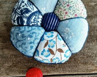 Handmade Pincushion in Blue Calico