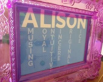 name poem in a frame