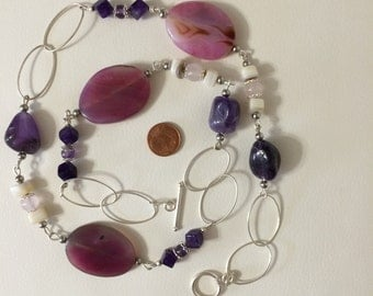Mixed 925 Silver necklace with natural stones