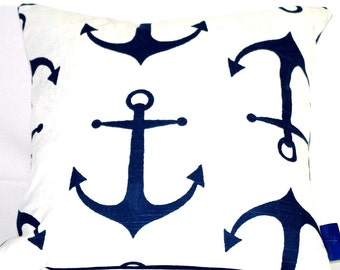 Navy Anchor Pillow (insert included)