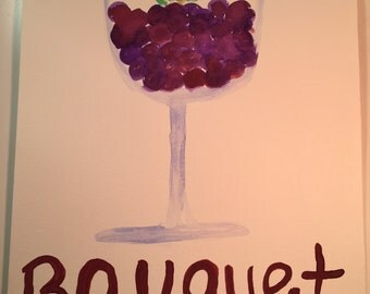 Watercolor 9x12, 'Wine Bouquet' Hand Painted, Original