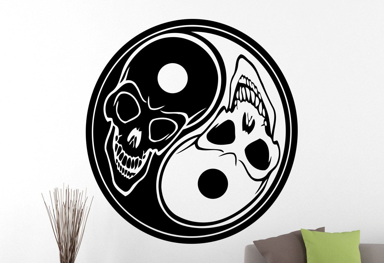 Yin yang wall sticker chinese decorations home interior living for Decoration murale yin yang