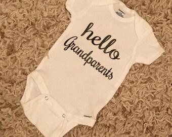 Pregnancy announcement reveal, Hello grandparents onesie, gift for new grandparents, grandparent pregnancy announcement, grandma, grandpa, r