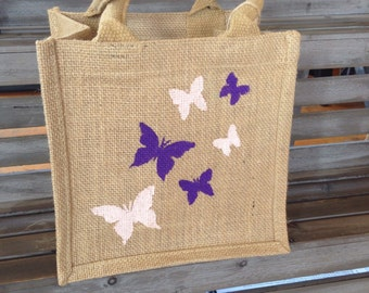 Butterfly jute lunch tote, burlap gift bag, hand painted bag- small, hessian bag. Butterflies lover gift idea. Can be personalised- purple