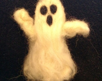 "Set of Two Wool Felted ""Flying"" Halloween Ghosts"