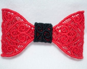 Black and red lace hair bow