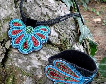 Butterfly Textile Bracelet & Necklace Set
