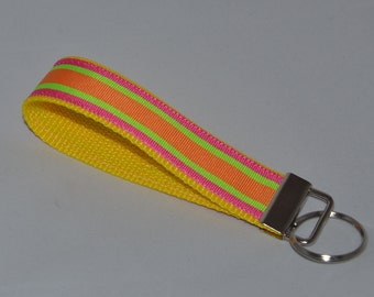 Pink, Orange and Green Grosgrain Ribbon Wristlet/Keychain