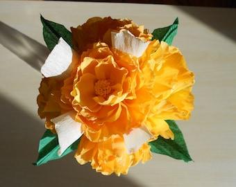 crepe paper flowers, paper flower bouquet, wedding bouquet, bridal bouquet