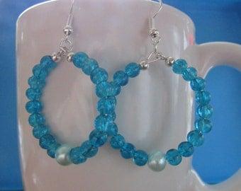 Blue earrings , Dangle hoop earrings , Beaded earrings , Hooked earrings