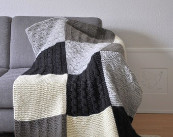 60% OFF Afghan blanket hand-knit neutral color blocking