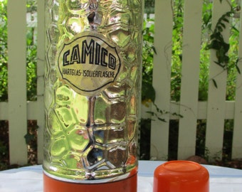 Vintage Thermos, Orange Metal and Glass Camico Picnic Thermos, 1 quart