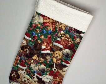 CHRISTMAS PUPPIES STOCKING - Green, Multi-color - Christmas Stocking