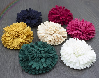 15pcs Assorted Colors Shabby Chic Fabric Daisy Flowers Carnation Flowers Headband,Brooch Flower,Wedding Bridal Flowers,Sewing Project BY0020