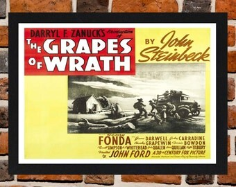 Framed The grapes Of Wrath Movie / Film Poster A3 Size Mounted In Black Or White Frame (Ref-1)
