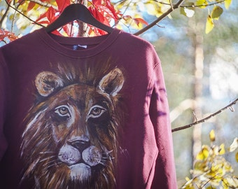 Lion hand painted shirt