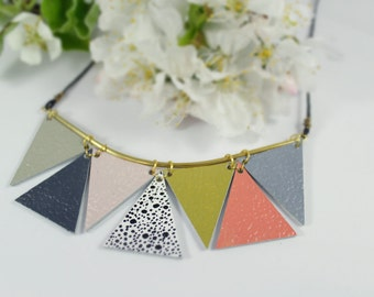 Geometric Leather Necklace • Triangle Necklace • Hand Painted Necklace • Pastel colored Necklace • Statement Necklace • Leather Jewellery