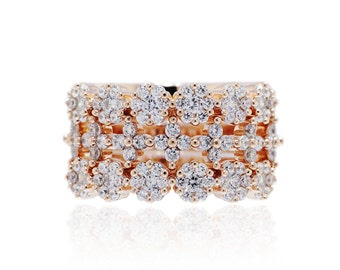 925 Sterling Silver Clear CZ Rose Gold Stackable Ring 1.50 CT.TW (S155)