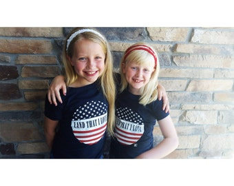 "Girls ""Land That I Love"" Crew Neck Midnight Navy America Tee, Usa Tshirt, Patriotic tshirt, Usa tee shirts, Usa tshirts, Usa shirt, USA"