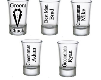 Groomsman Gifts,  Best Man Gifts, Bachelor Shot Glasses, Groomsmen Gifts, Bachelor Party, Wedding Party Shot Glasses, Custom Shot Glasses