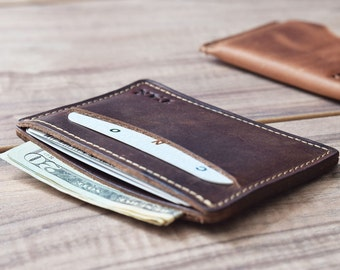 Leather card wallet, leather card holder, groomsmen gift, groomsmen wallet, front pocket wallet, leather wallet
